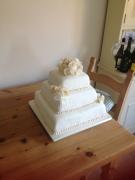 Pearl rose homemade wedding cake